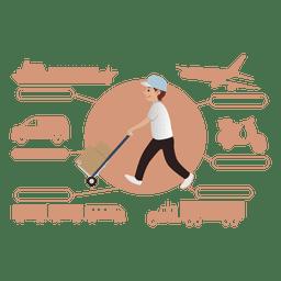 Silhueta de diagrama de transporte de entrega