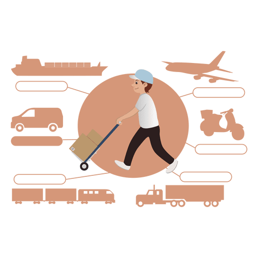 Delivery transport diagram silhouette Transparent PNG