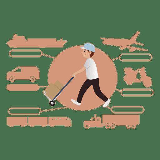 Silueta de diagrama de transporte de entrega Transparent PNG