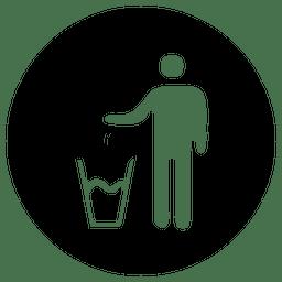 Icono de servicio redondo del cubo de basura