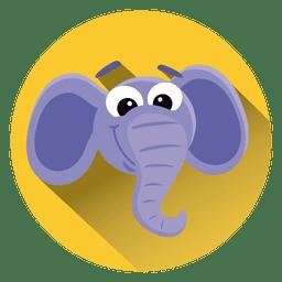 Icono de círculo de dibujos animados de elefante