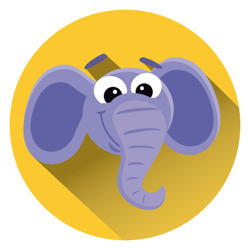Elephant cartoon circle icon