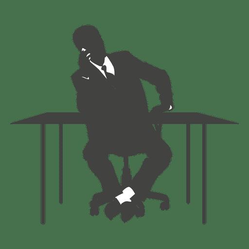 Ejecutivo hablando telefono en silla Transparent PNG