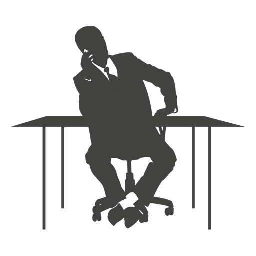 Executive talking phone on chair Transparent PNG