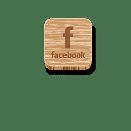 Facebook icono cuadrado de madera