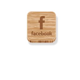 Facebook wooden square icon