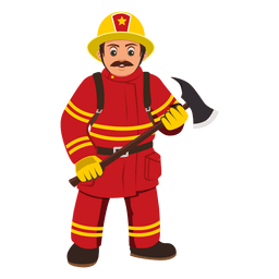 Fireman profession cartoon