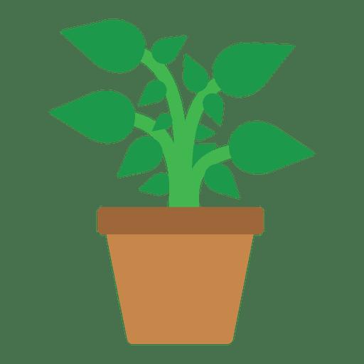 Flat flower tub icon