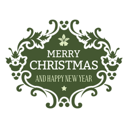 Floral green christmas label