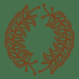 Guirnalda floral con marco de hojas.