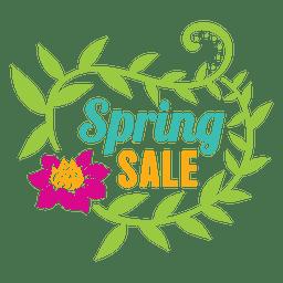 Etiqueta de venta de primavera floral