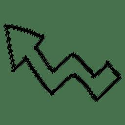 Dirección de la flecha izquierda doblada