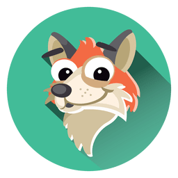 Fox cartoon circle icon