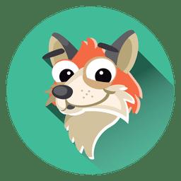 Ícone de círculo dos desenhos animados de raposa