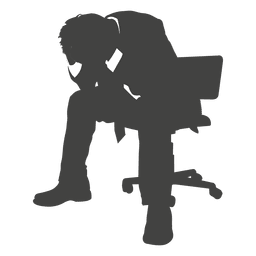 Frustrated businessman silhouette