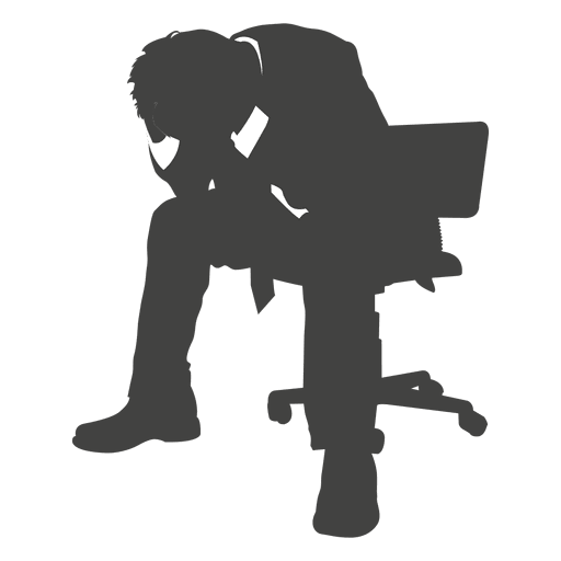 Frustrated businessman silhouette Transparent PNG