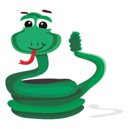 Personaje de dibujos animados serpiente divertida
