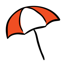 Lustige Regenschirm-Reise-Ikone