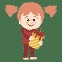 de dibujos animados chica que lleva caja de regalo