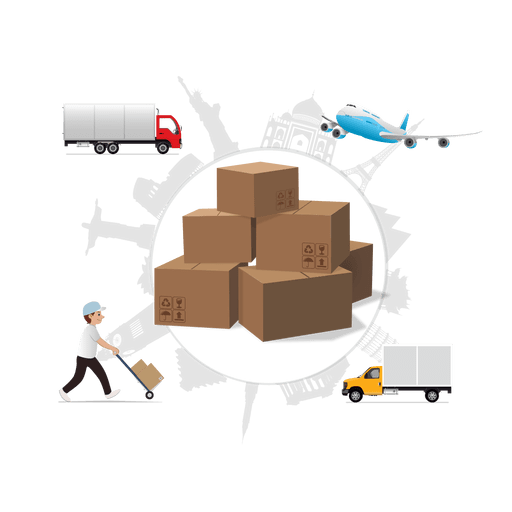 Global shipping cartoon infographic Transparent PNG