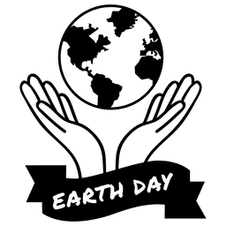 Globe hands earth day label