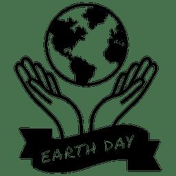 Globo etiqueta do dia da terra mãos