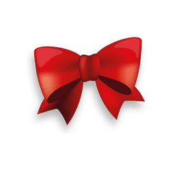 Glossy red ribbon bow