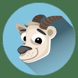 Ícone de círculo de desenhos animados de cabra