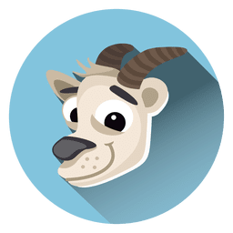 Icono de círculo de dibujos animados de cabra