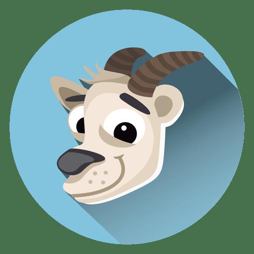 Icono de c?rculo de dibujos animados de cabra