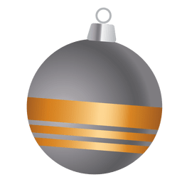 Gold ribbon grey bauble