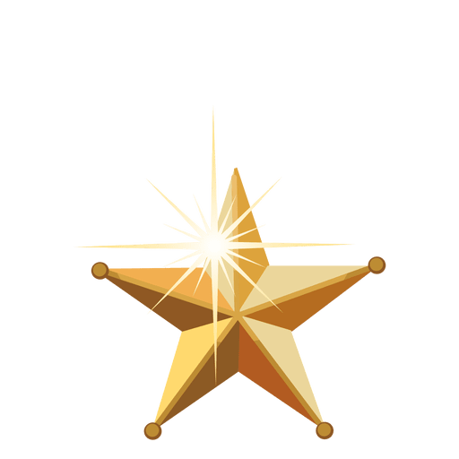 Golden 3d christmas star Transparent PNG