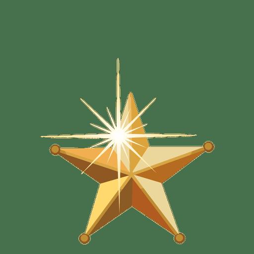 Golden 3d christmas star
