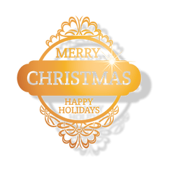 Golden ornamented christmas badge