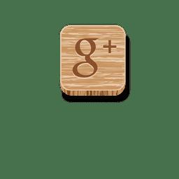 Google más icono de madera