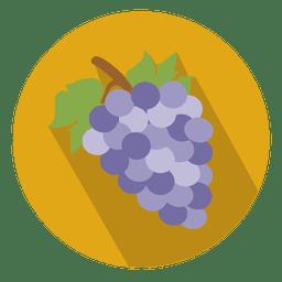 Icono de círculo plano de uvas
