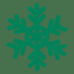 Grüne flache Schneeflockensymbol