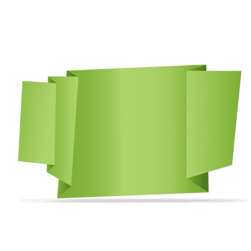 Green folded origami banner Transparent PNG
