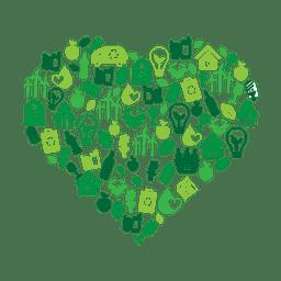 Corazón verde del medio ambiente icons.svg