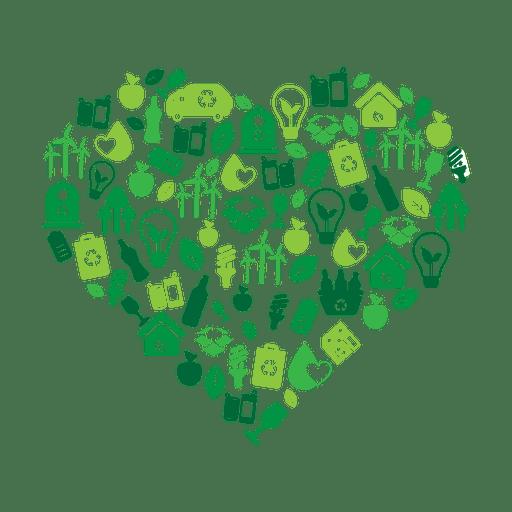 Corazón verde ambiental icons.svg