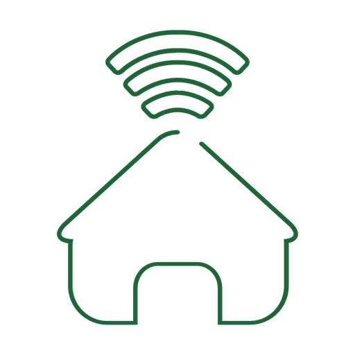 Green home network line icon.svg Transparent PNG