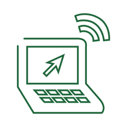 Green laptop line icon.svg