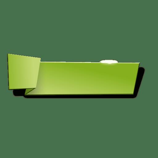 Banner horizontal de origami verde Transparent PNG
