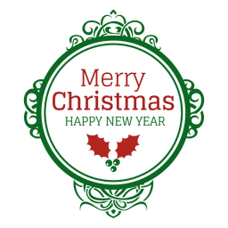 Green oval decoration christmas seal
