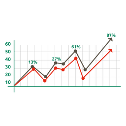 Green red growing xmas graph