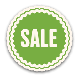Etiqueta de la venta redondeada verde