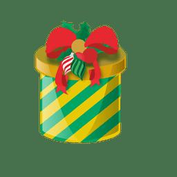 Caja de regalo redonda verde amarillo