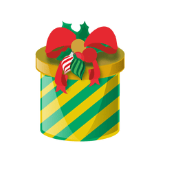 Green yellow round giftbox