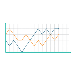 Growing line graph chart