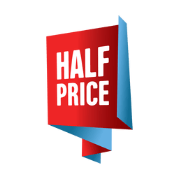 Etiqueta de venda de metade do preço